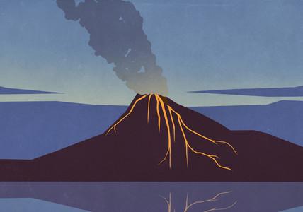 Smoke and lava emitting from erupting volcano