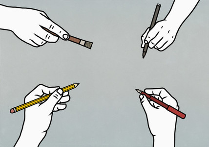 Hands with writing and art utensils