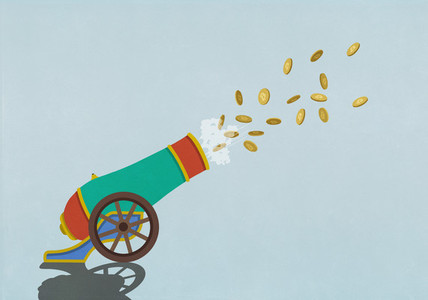 Coins flying from exploding cannon