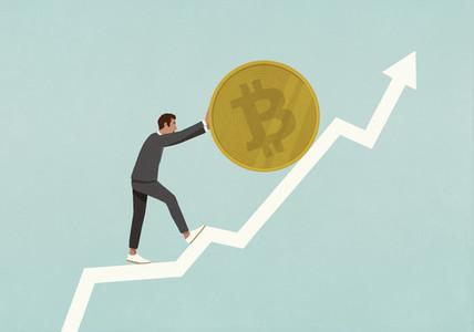 Businessman rolling Bitcoin up ascending data arrow