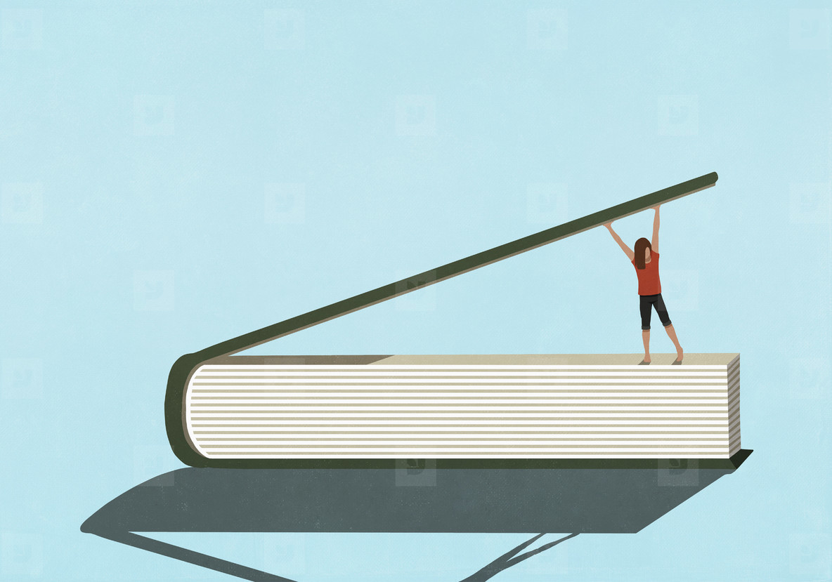 Woman opening large book cover