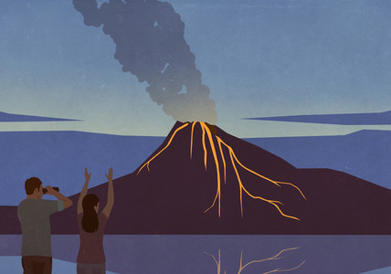 Excited tourists watching volcano eruption