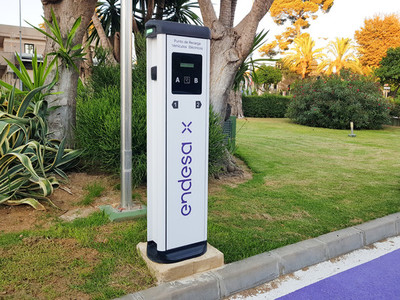 Jerez de la Frontera  Andalusia  Spain  7 July 2021  Charging point for electric vehicles of the Endesa company located on the street
