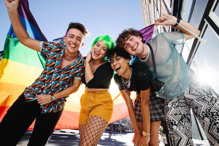 Young LGBTQ people celebrating pride