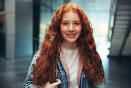 Female student in high school campus