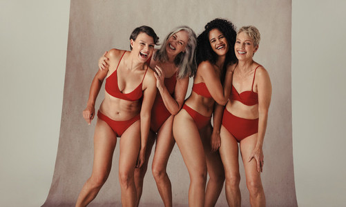 Group of diverse women celebrating their natural bodies