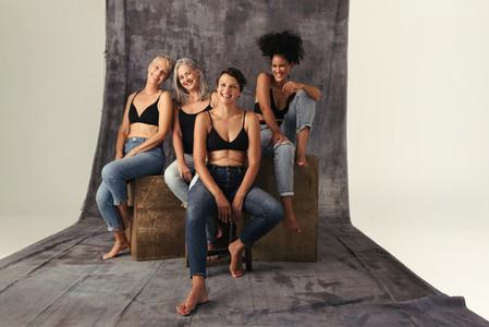 Studio shot of diverse women celebrating their natural bodies