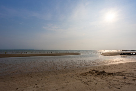 Bangsaen beach in the evening time  Very few people because of t