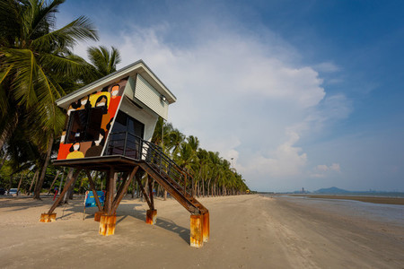 Observation Tower on Bangsaen beach in the evening time  Very fe
