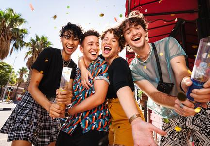 Queer friends celebrating their friendship