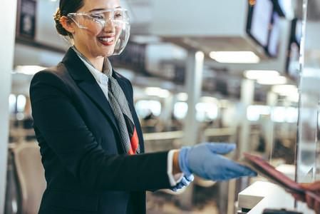 Flight attendant doing checkin