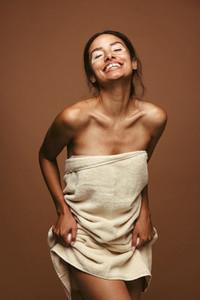 Portrait of woman in bath towel
