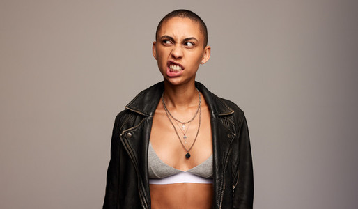 Androgynous woman with funny expression