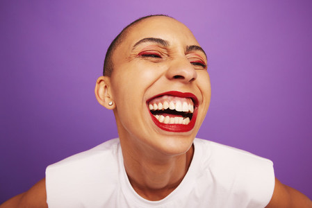 Funny portrait of a cheerful woman