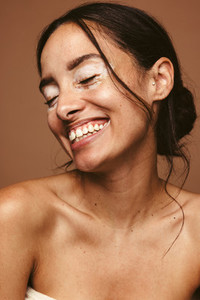 Close up of woman with vitiligo