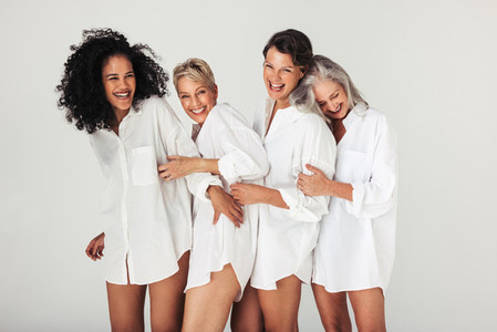 Studio shot of women celebrating their natural bodies