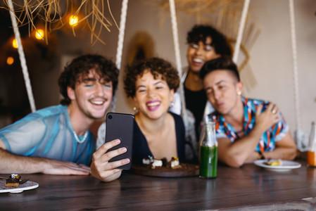 Taking a selfie in a restaurant