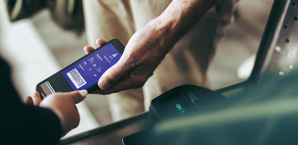 Check in with digital boarding pass at airport