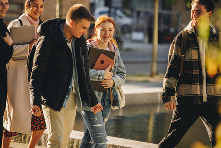 Boys and girls in university campus