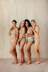Beautiful group of women embracing their natural bodies