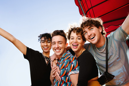 Young group of friends having fun together
