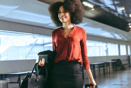 Businesswoman walking at airport