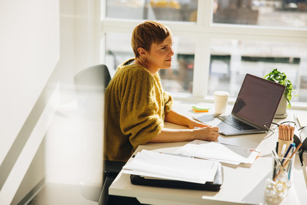 Woman working at office
