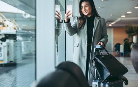 Female traveler at airport