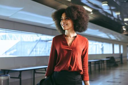 Smiling female passenger