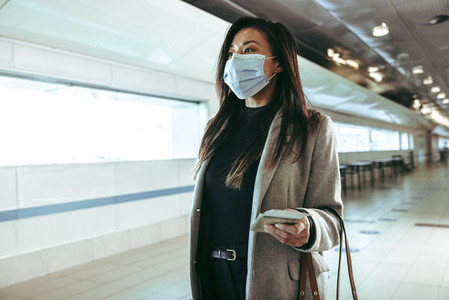 Businesswoman wearing face mask