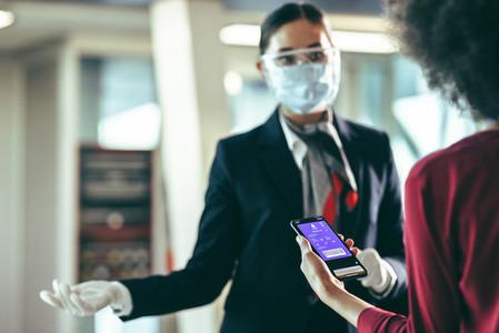 Woman passenger with passport