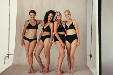 Beautiful diverse women in their natural bodies