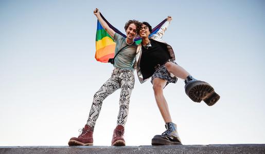 Two queer men celebrating gay pride