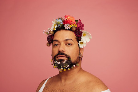 Bearded male with floral makeup