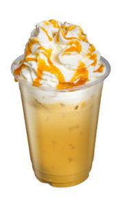 Ice Cappuccino or Latte Coffee with whip cream and caramel toppi
