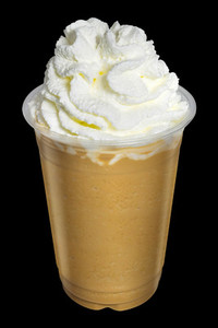 Cappuccino or Latte Coffee Smoothies with whip cream topping on