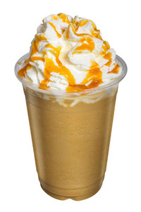 Cappuccino or Latte Coffee Smoothies with whip cream and caramel