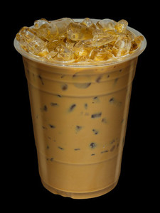 Iced Coffee mixed with milk on isolated