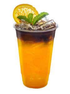 Iced Americano coffee mixed with orange juice with orange slices