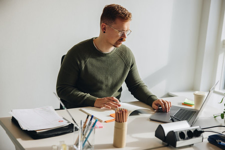Businessman busy working at his desk