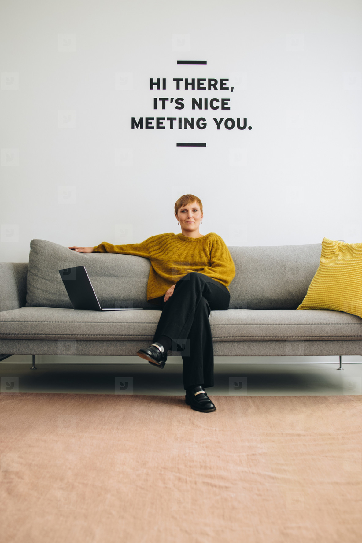 Female entrepreneur sitting in lobby