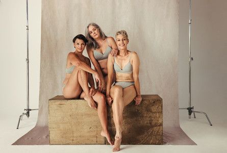 Studio shot of confident women embracing their aging bodies