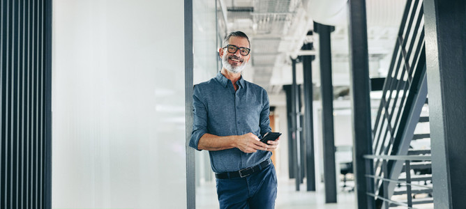 Smiling mature businessman holding a smartphone in an office