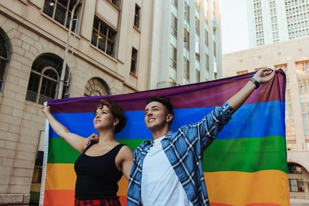 Couple at a pride parade