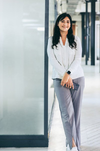 Cheerful businesswoman smiling at the camera