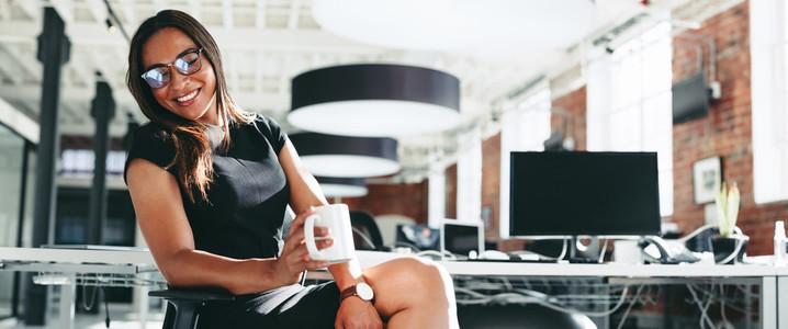 Enjoying a coffee break in the office