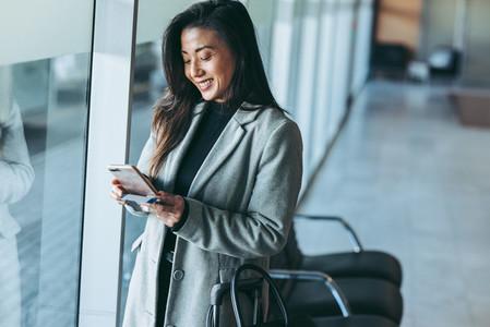 Woman waiting at airport lounge