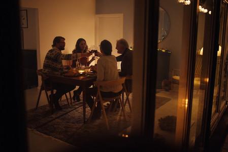 Family having a Christmas eve dinner