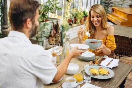 Enjoying breakfast on a weekend getaway