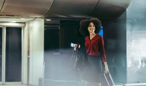 Female traveler on transit